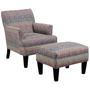 Transitional Chair and Ottoman Set with Flared Arms and Tapered Wood Legs