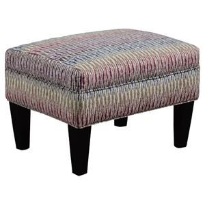 Transitional Rectangular Chair Ottoman with Tapered Wood Legs