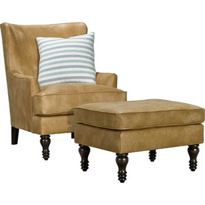 Transitional Wing Back Chair & Ottoman Set