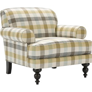 Upholstered Chair with Expertly Turned Front Legs