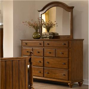 8 Drawer Dresser and Arched Mirror Combination