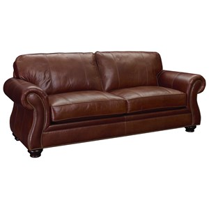 Leather Sofa with Nailhead Trim