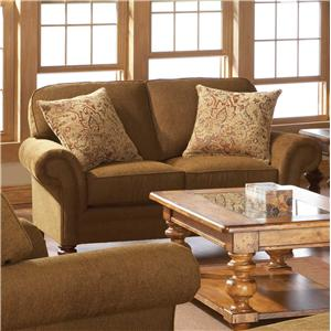Upholstered Stationary Loveseat with Rolled Arms