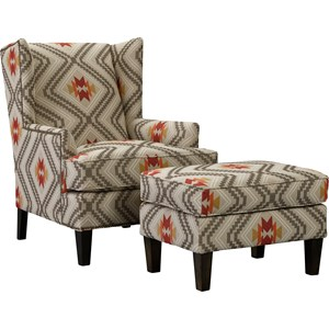 Upholstered Wing Chair & Ottoman Set with Brass Nailhead Trim
