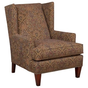 Upholstered Chair with Brass Nailhead Trim