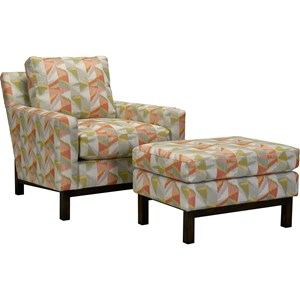 Transitional Chair and Ottoman with Exposed Wood Base