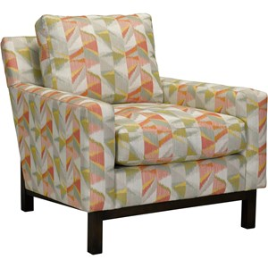 Transitional Chair with Wood Base