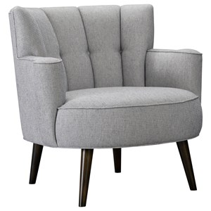 Upholstered Chair with Channel and Button Tufting