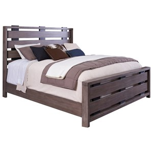 Queen Bed with Slatted Headboard and Footboard