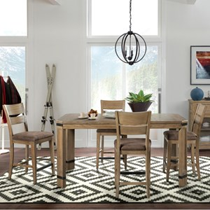 5 Piece Dual Height Table and Upholstered Seat Chair Set