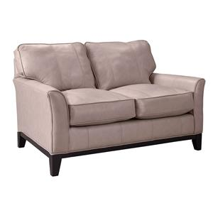 Contemporary Stationary Loveseat with Flare Tapered Arms