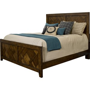California King Panel Bed with Rustic Pecan Veneers
