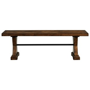 Dining Bench with Iron Bar Accent