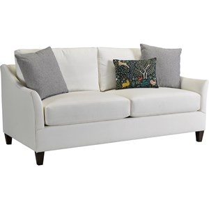 Transitional Apartment Sofa with Flared Tapered Arms