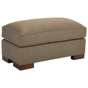 Ottoman with Exposed Wood Block Feet