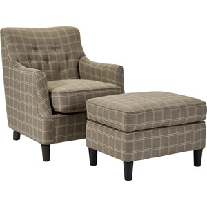 Transitional Chair with Tufted Back and Ottoman