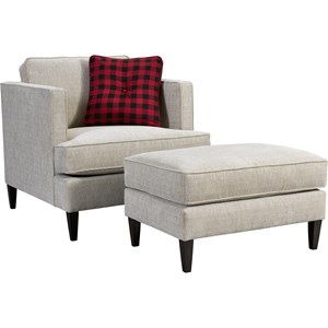 Contemporary Chair and Ottoman with Tuxedo Arms
