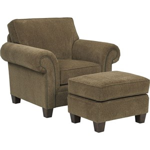 Transitional Upholstered Arm Chair and Ottoman