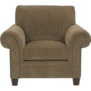 Transitional Upholstered Arm Chair with Rolled Arms