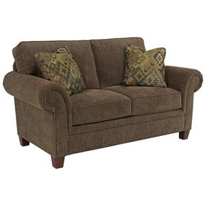 Transitional Loveseat with Rolled Arms and Nail Head Trim Accents