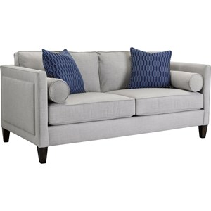 Transitional Apartment Sofa with Tapered Wood Block Feet