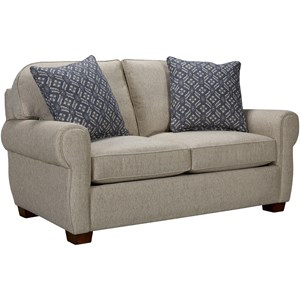 Transitional Loveseat with Cigar Arm