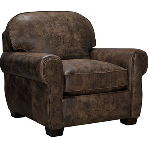 Upholstered Chair with Rounded Seat Back