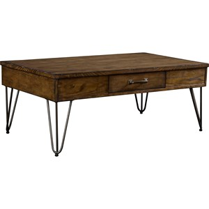 1 Drawer Cocktail Table with Hairpin Legs