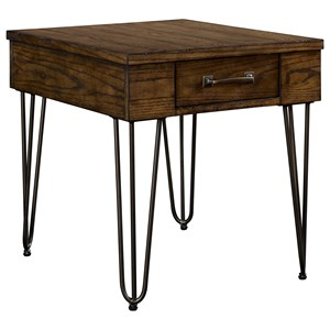 1 Drawer End Table with Hairpin Legs