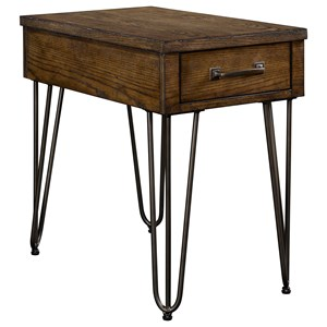 1 Drawer Chairside Table with Hairpin Legs