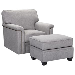 Swivel Chair with Nailhead Trim and Ottoman