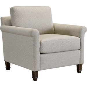 Transitional Upholstered Chair with Rolled Arms
