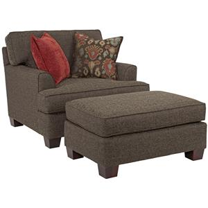 Broyhill Furniture Westport Chair and a Half with Ottoman