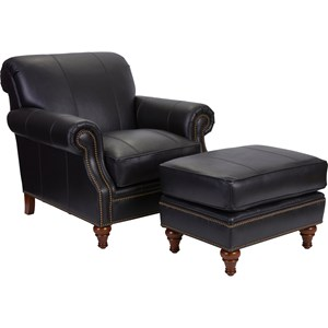 Chair and Ottoman Combination with Nail Head Trim