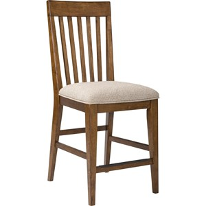 Upholstered Seat Counter Stool in Cafe Finish