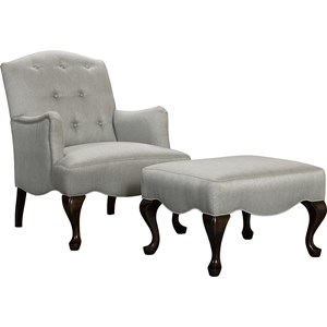 Traditional Chair & Ottoman with Cabriole Legs
