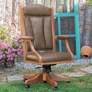 Solid Wood Desk Chair with Casters and Adjustable Height