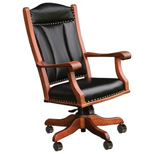 Upholstered Office Chair with Solid Wood Frame