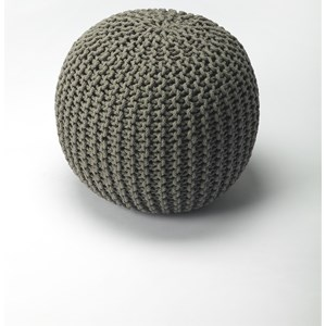 Pincushion Gray Woven Pouffe