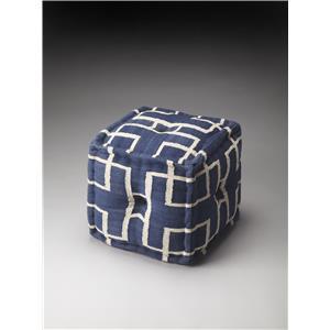 Berkeley Blue Cotton Pouffe