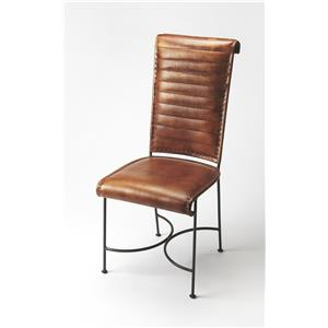BUTLER BUXTON IRON & LEATHER SIDE CHAIR