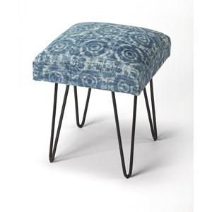 Faded Denim Cotton Upholstered Stool