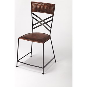 Hackney Brown Leather Side Chair