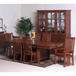 Cal Oak Fremont Hills Rectangular Trestle Table Set
