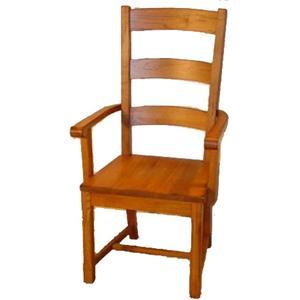 Cal Oak Homespun Woodseat Ladder Back Arm Chair