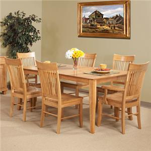 Cal Oak Matrix  (7) Piece Oak Table & Spindle Back Chair Set