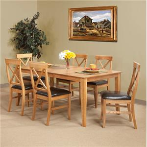 Cal Oak Matrix  (7) Piece Oak Table & X-Back Chair Set