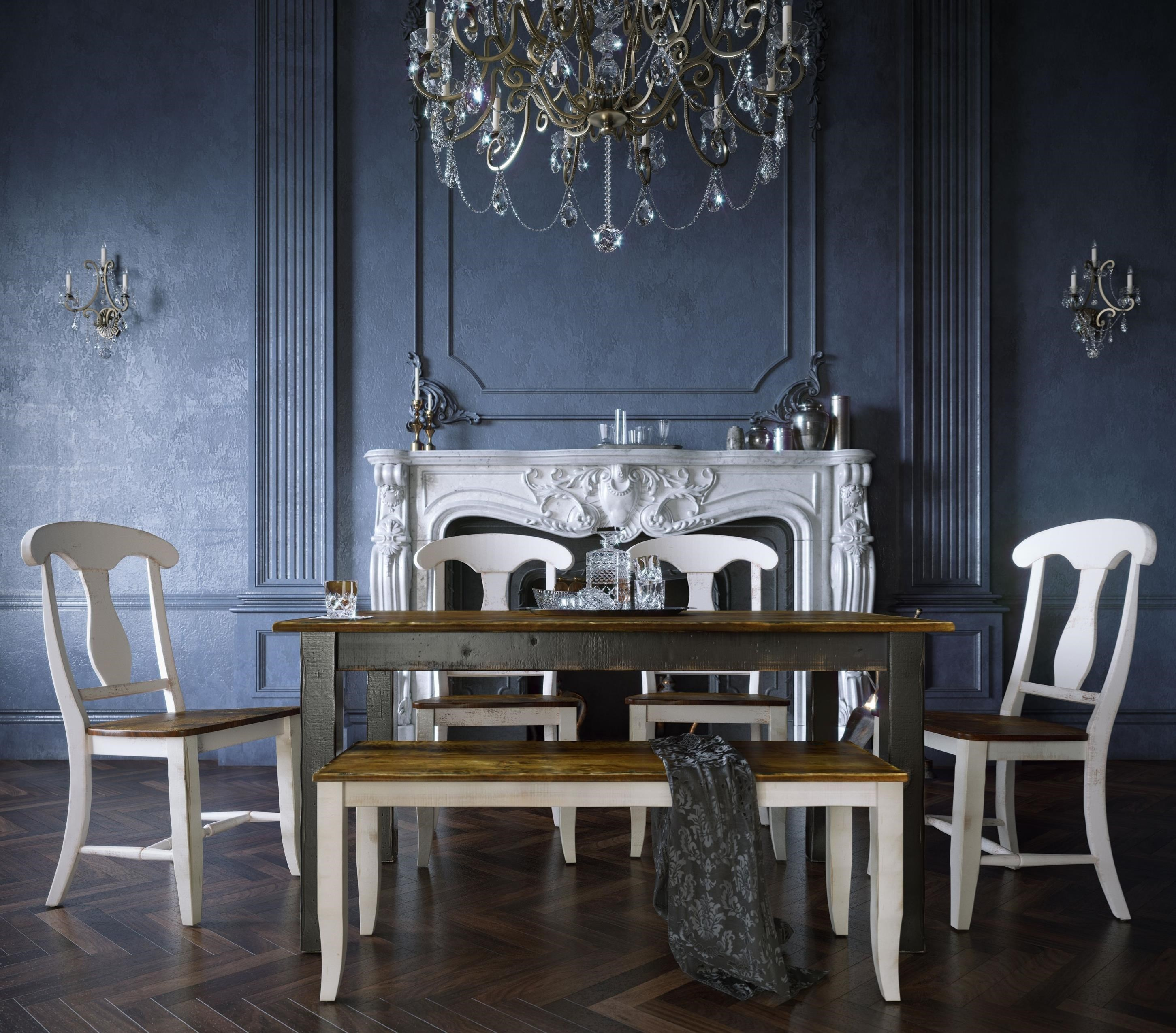 Champlain - Custom Dining Customizable Table Set with Bench by Canadel at Jordan's Home Furnishings