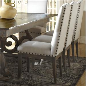 Customizable Upholstered Side Chair with Nailhead Trim