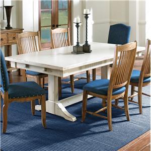 Customizable Rectangular Table with Trestle Base